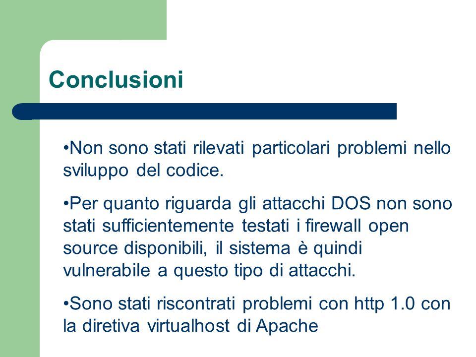 Conclusioni Non sono stati rilevati particolari problemi nello sviluppo del codice.