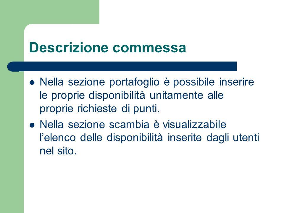 Descrizione commessa Nella sezione portafoglio è possibile inserire le proprie disponibilità unitamente alle proprie richieste di punti.
