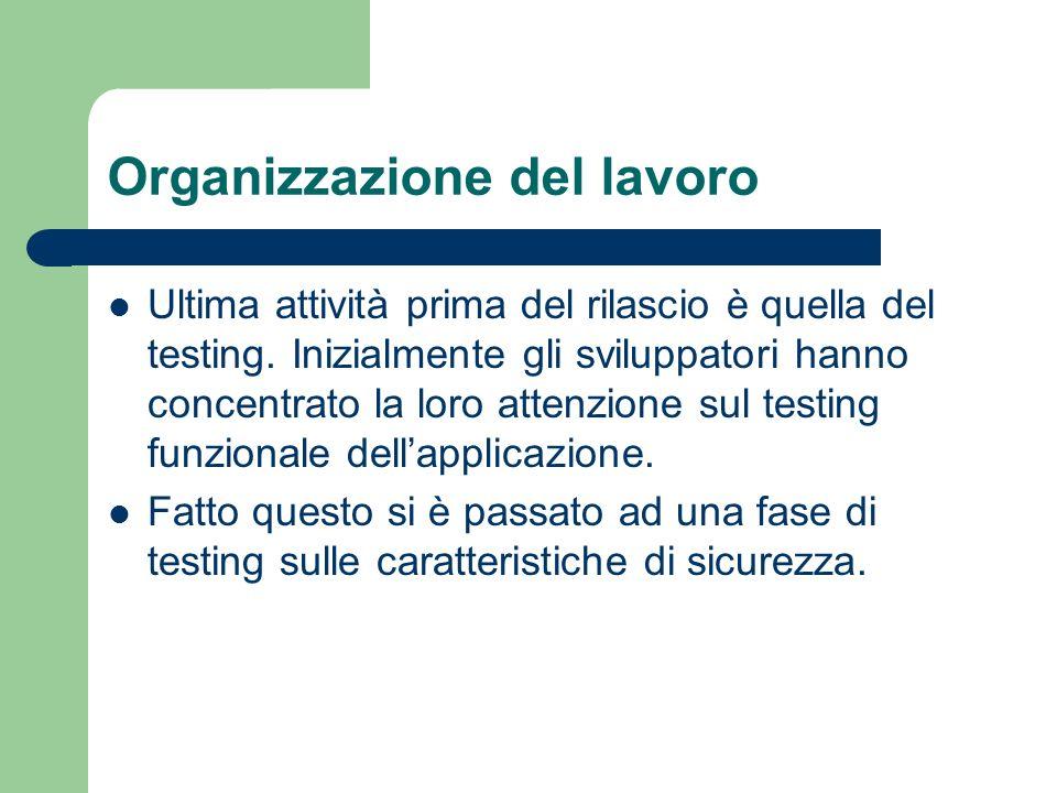 Organizzazione del lavoro Ultima attività prima del rilascio è quella del testing.