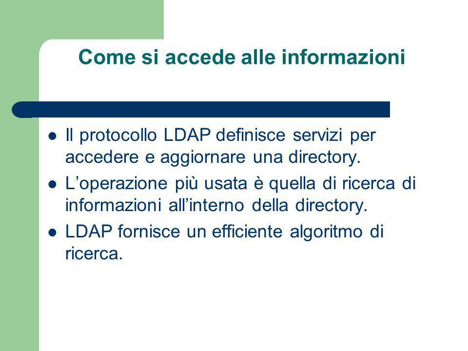 Come si accede alle informazioni Il protocollo LDAP definisce servizi per accedere e aggiornare una directory.