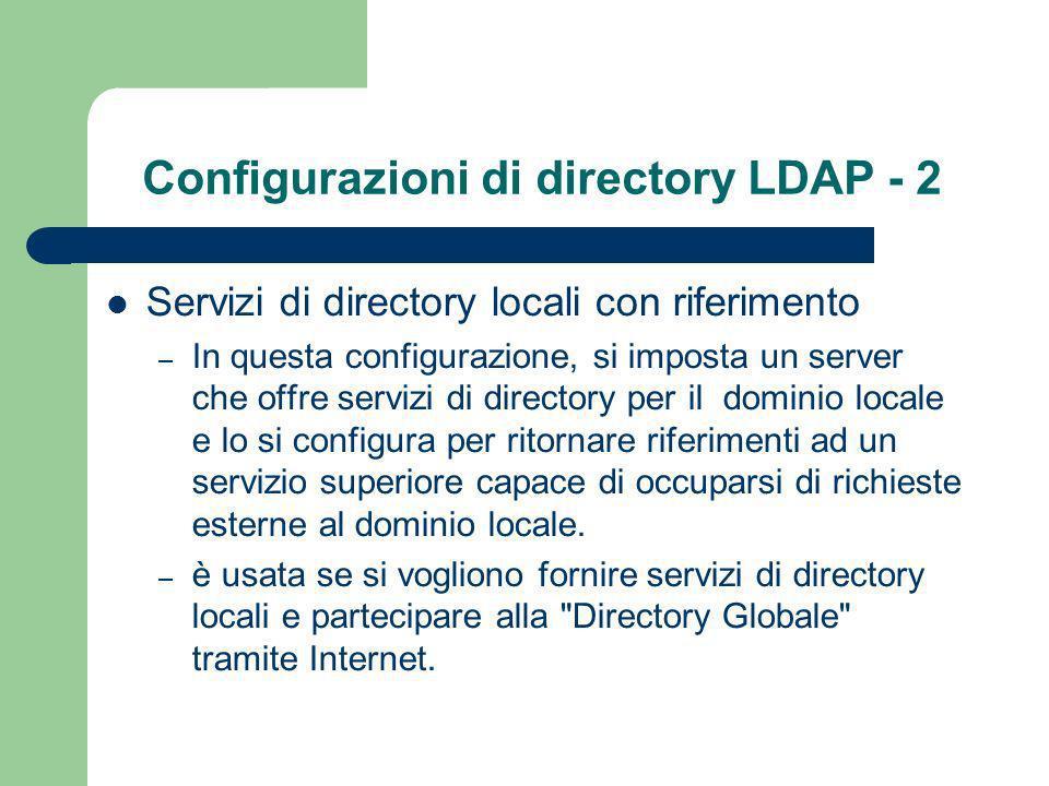 Configurazioni di directory LDAP - 2 Servizi di directory locali con riferimento – In questa configurazione, si imposta un server che offre servizi di directory per il dominio locale e lo si configura per ritornare riferimenti ad un servizio superiore capace di occuparsi di richieste esterne al dominio locale.