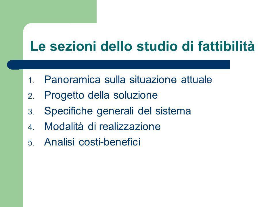 Le sezioni dello studio di fattibilità 1.Panoramica sulla situazione attuale 2.