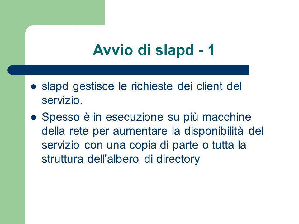 Avvio di slapd - 1 slapd gestisce le richieste dei client del servizio.