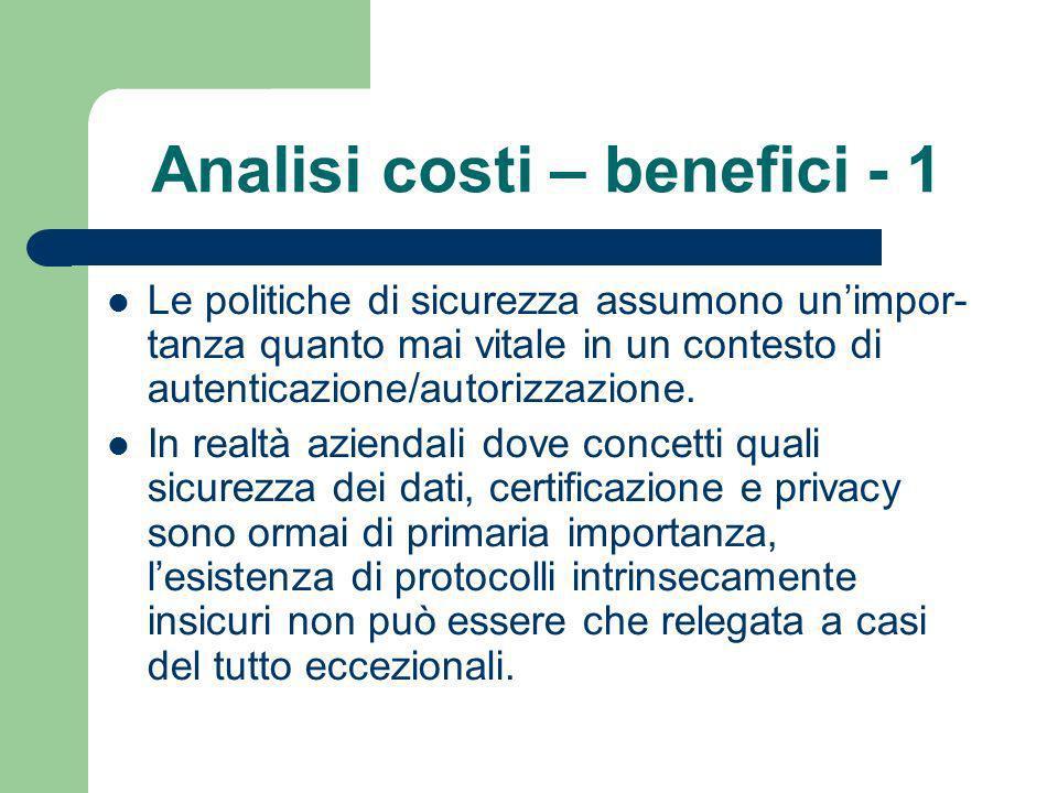 Analisi costi – benefici - 1 Le politiche di sicurezza assumono unimpor- tanza quanto mai vitale in un contesto di autenticazione/autorizzazione.
