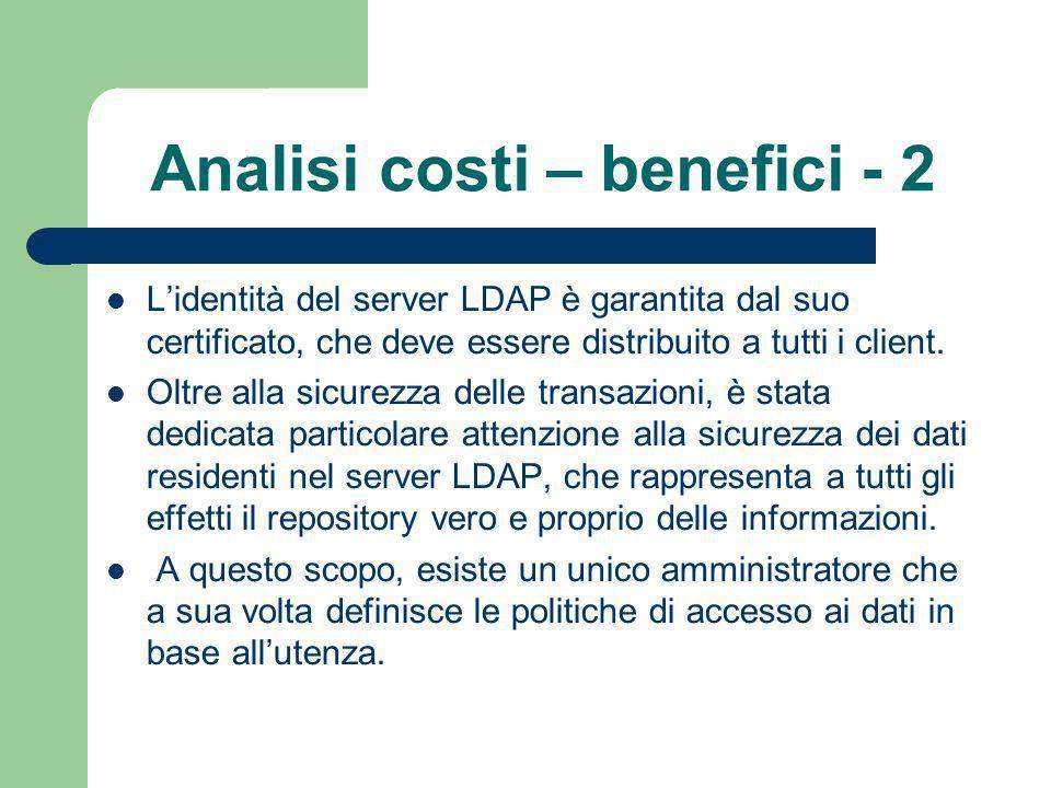 Analisi costi – benefici - 2 Lidentità del server LDAP è garantita dal suo certificato, che deve essere distribuito a tutti i client.