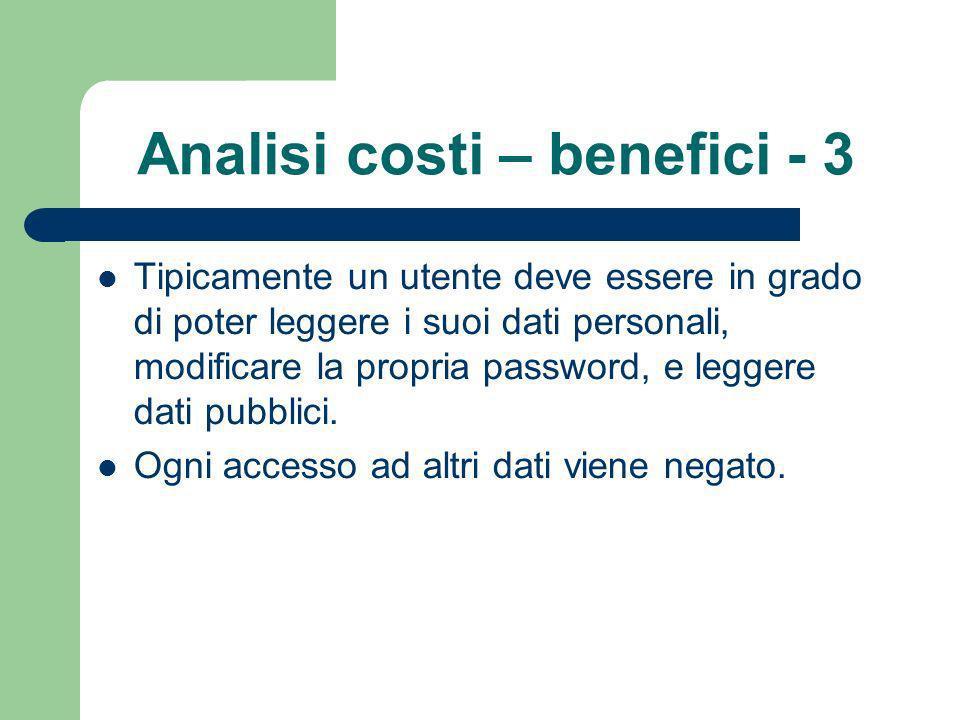 Analisi costi – benefici - 3 Tipicamente un utente deve essere in grado di poter leggere i suoi dati personali, modificare la propria password, e leggere dati pubblici.
