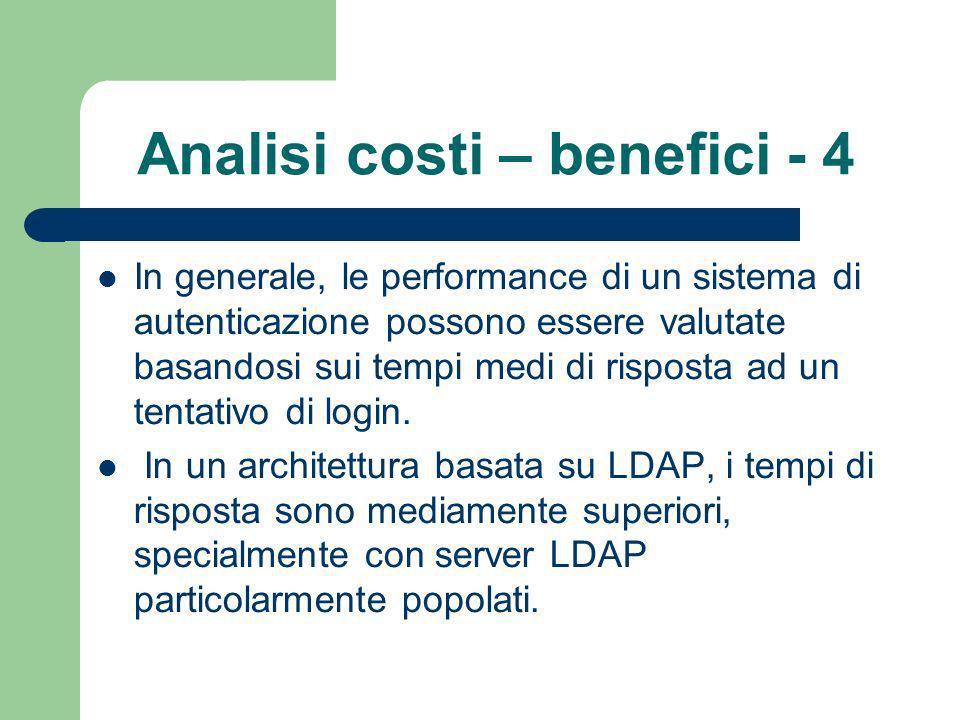 Analisi costi – benefici - 4 In generale, le performance di un sistema di autenticazione possono essere valutate basandosi sui tempi medi di risposta ad un tentativo di login.