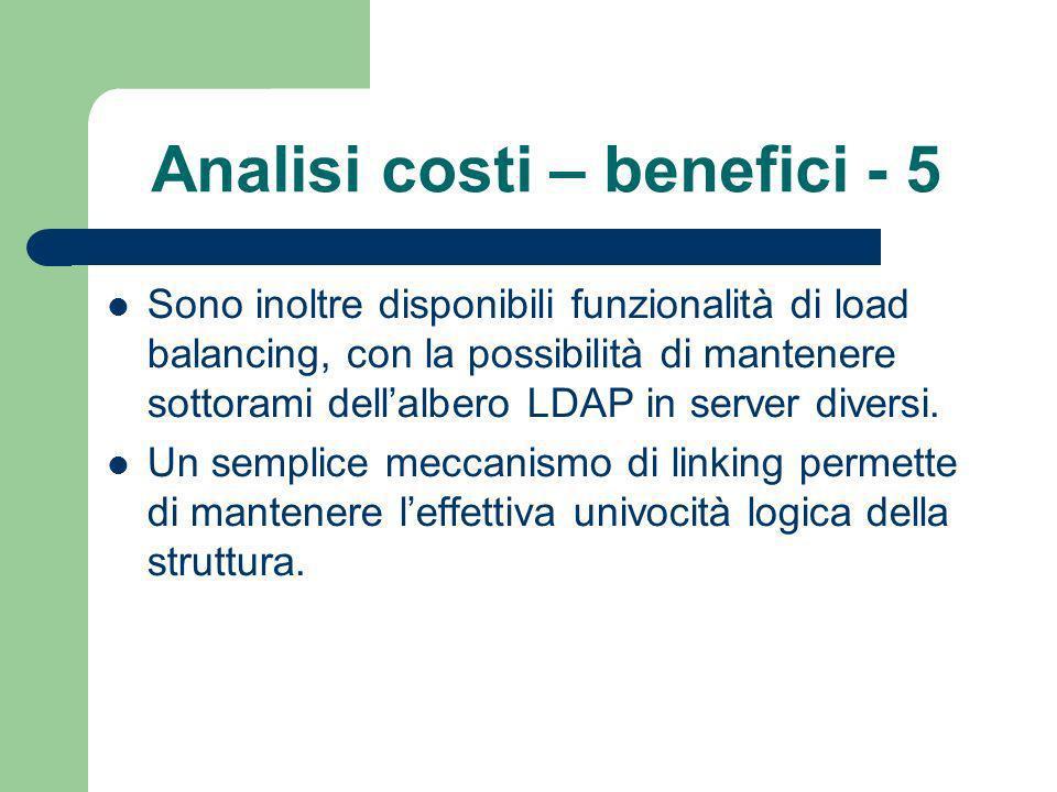 Analisi costi – benefici - 5 Sono inoltre disponibili funzionalità di load balancing, con la possibilità di mantenere sottorami dellalbero LDAP in server diversi.