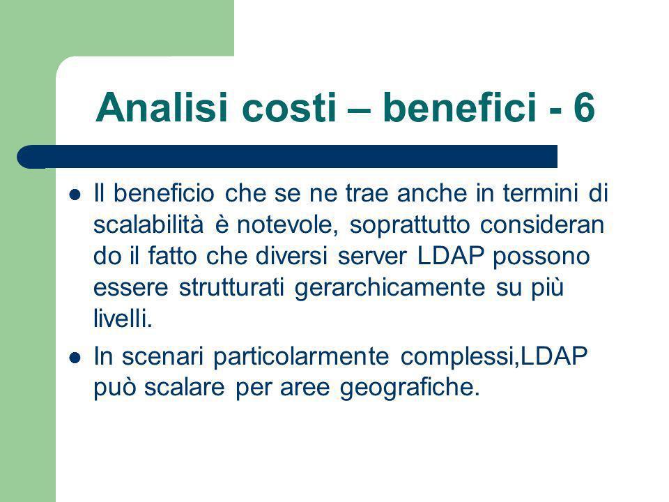 Analisi costi – benefici - 6 Il beneficio che se ne trae anche in termini di scalabilità è notevole, soprattutto consideran do il fatto che diversi server LDAP possono essere strutturati gerarchicamente su più livelli.