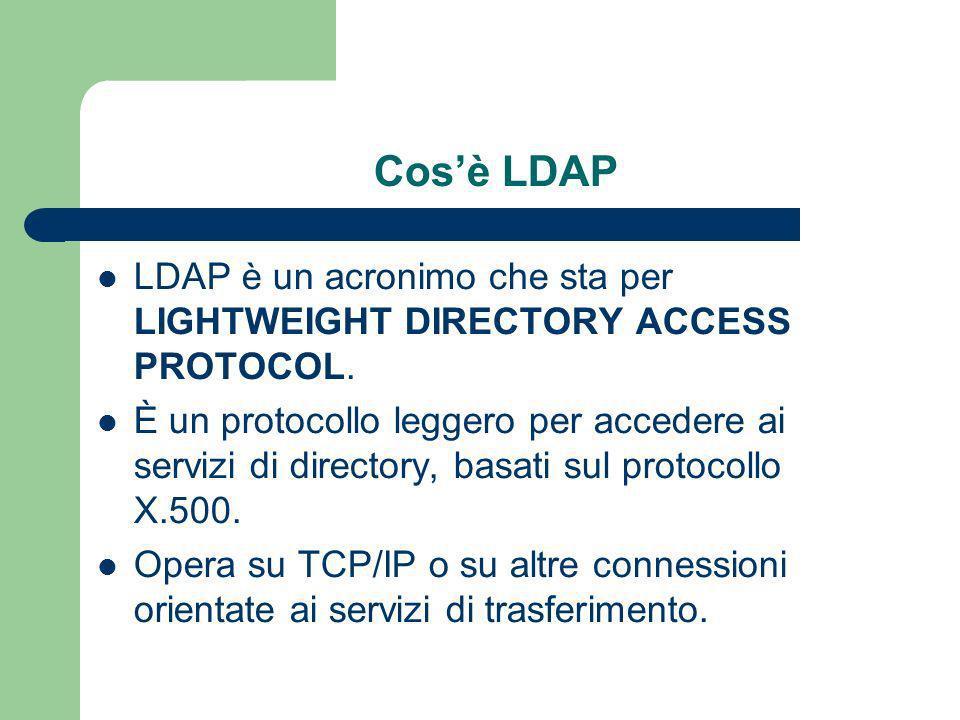 Cosè LDAP LDAP è un acronimo che sta per LIGHTWEIGHT DIRECTORY ACCESS PROTOCOL.