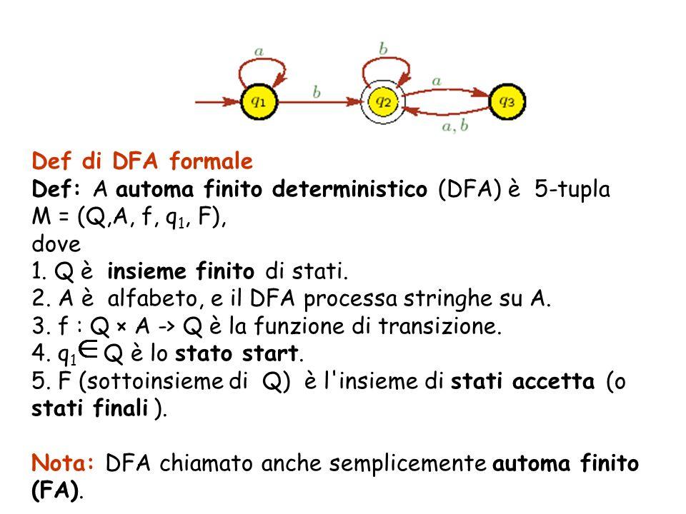Def di DFA formale Def: A automa finito deterministico (DFA) è 5-tupla M = (Q,A, f, q 1, F), dove 1. Q è insieme finito di stati. 2. A è alfabeto, e i