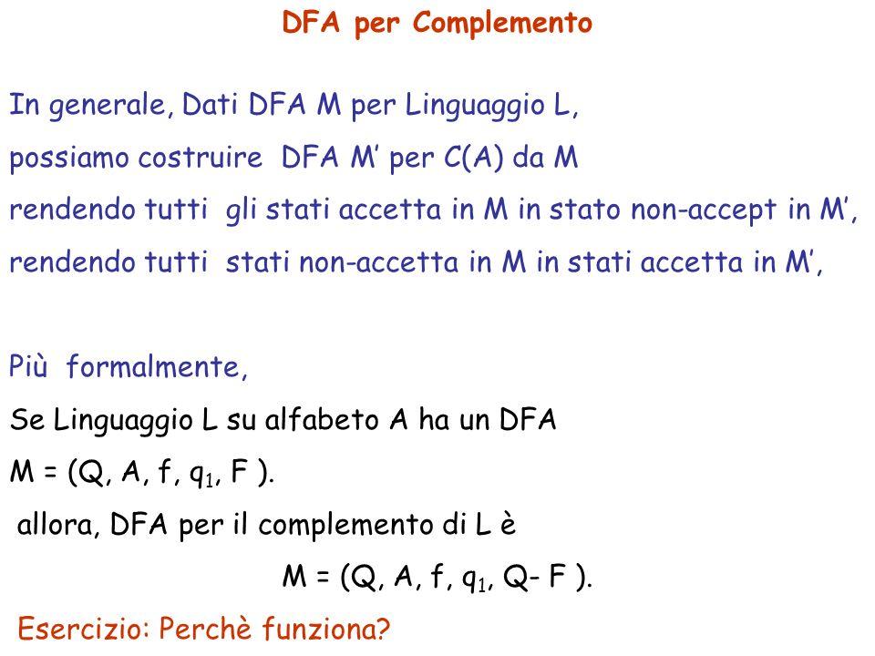 DFA per Complemento In generale, Dati DFA M per Linguaggio L, possiamo costruire DFA M per C(A) da M rendendo tutti gli stati accetta in M in stato no