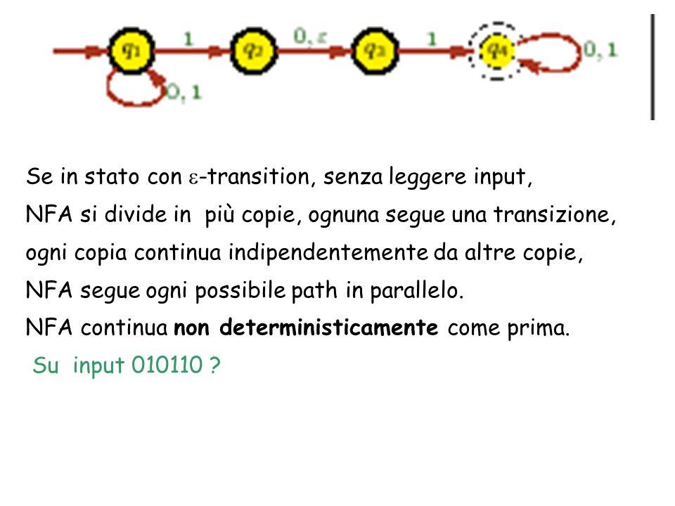 Se in stato con -transition, senza leggere input, NFA si divide in più copie, ognuna segue una transizione, ogni copia continua indipendentemente da altre copie, NFA segue ogni possibile path in parallelo.