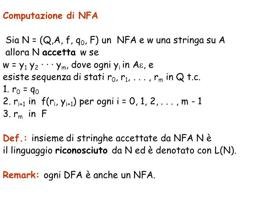 Computazione di NFA Sia N = (Q,A, f, q 0, F) un NFA e w una stringa su A allora N accetta w se w = y 1 y 2 · · · y m, dove ogni y i in A, e esiste sequenza di stati r 0, r 1,..., r m in Q t.c.