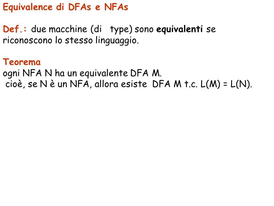 Equivalence di DFAs e NFAs Def.: due macchine (di type) sono equivalenti se riconoscono lo stesso linguaggio. Teorema ogni NFA N ha un equivalente DFA