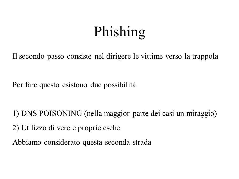 Phishing Il secondo passo consiste nel dirigere le vittime verso la trappola Per fare questo esistono due possibilità: 1) DNS POISONING (nella maggior parte dei casi un miraggio) 2) Utilizzo di vere e proprie esche Abbiamo considerato questa seconda strada