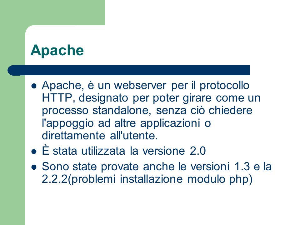 Apache Apache, è un webserver per il protocollo HTTP, designato per poter girare come un processo standalone, senza ciò chiedere l appoggio ad altre applicazioni o direttamente all utente.