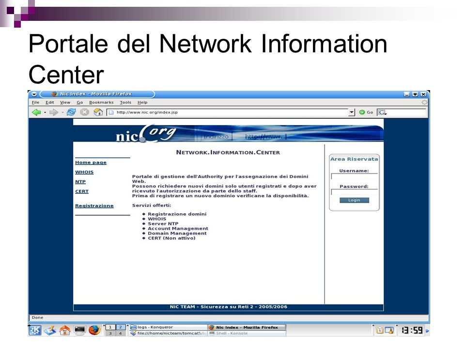 Portale del Network Information Center