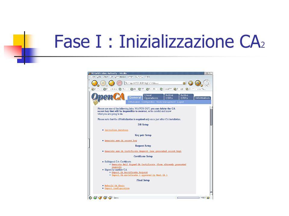 Fase I : Inizializzazione CA 2