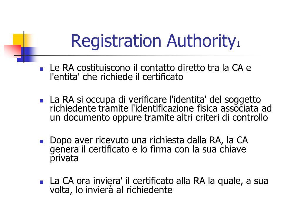 Registration Authority 1 Le RA costituiscono il contatto diretto tra la CA e l entita che richiede il certificato La RA si occupa di verificare l identita del soggetto richiedente tramite l identificazione fisica associata ad un documento oppure tramite altri criteri di controllo Dopo aver ricevuto una richiesta dalla RA, la CA genera il certificato e lo firma con la sua chiave privata La CA ora inviera il certificato alla RA la quale, a sua volta, lo invierà al richiedente