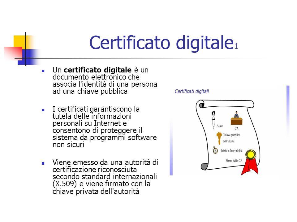 Certificato digitale 1 Un certificato digitale è un documento elettronico che associa l identità di una persona ad una chiave pubblica I certificati garantiscono la tutela delle informazioni personali su Internet e consentono di proteggere il sistema da programmi software non sicuri Viene emesso da una autorità di certificazione riconosciuta secondo standard internazionali (X.509) e viene firmato con la chiave privata dell autorità