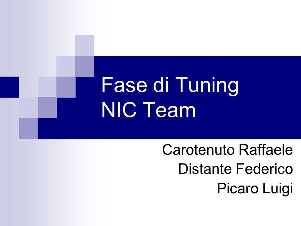 Fase di Tuning NIC Team Carotenuto Raffaele Distante Federico Picaro Luigi