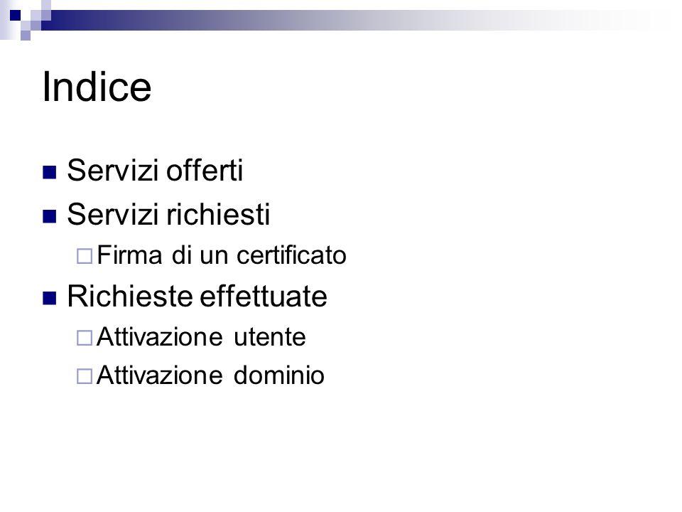 Indice Servizi offerti Servizi richiesti Firma di un certificato Richieste effettuate Attivazione utente Attivazione dominio