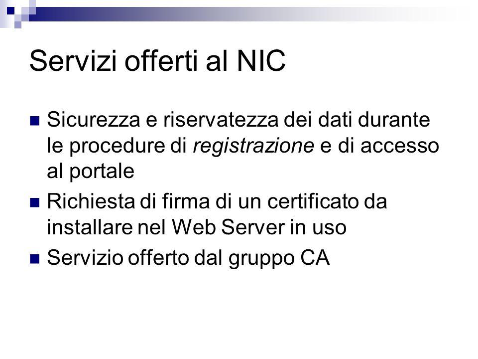 Servizi offerti al NIC Sicurezza e riservatezza dei dati durante le procedure di registrazione e di accesso al portale Richiesta di firma di un certif