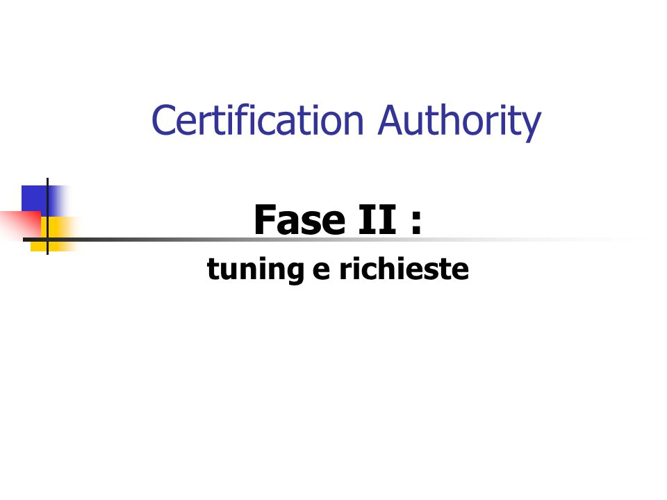 Certification Authority Fase II : tuning e richieste