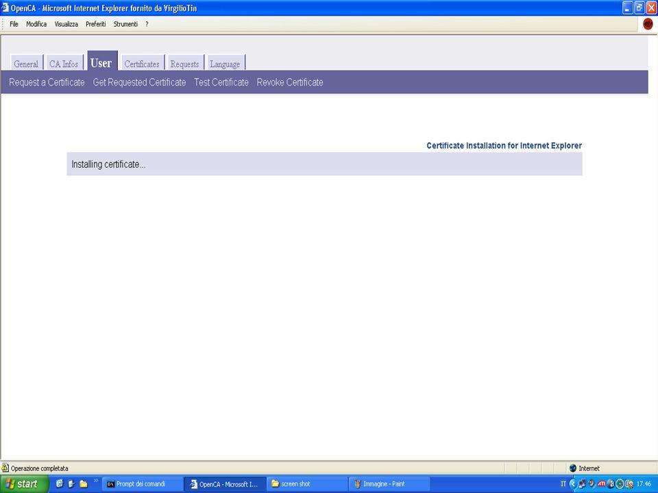 Come installare il certificato Lamministratore della CA accede al sistema e valida la richiesta del certificato Lutente si collega al sito www.ca.orgw