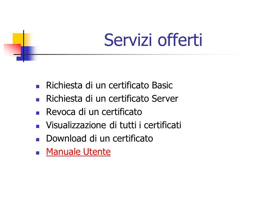 Servizi offerti Richiesta di un certificato Basic Richiesta di un certificato Server Revoca di un certificato Visualizzazione di tutti i certificati Download di un certificato Manuale Utente