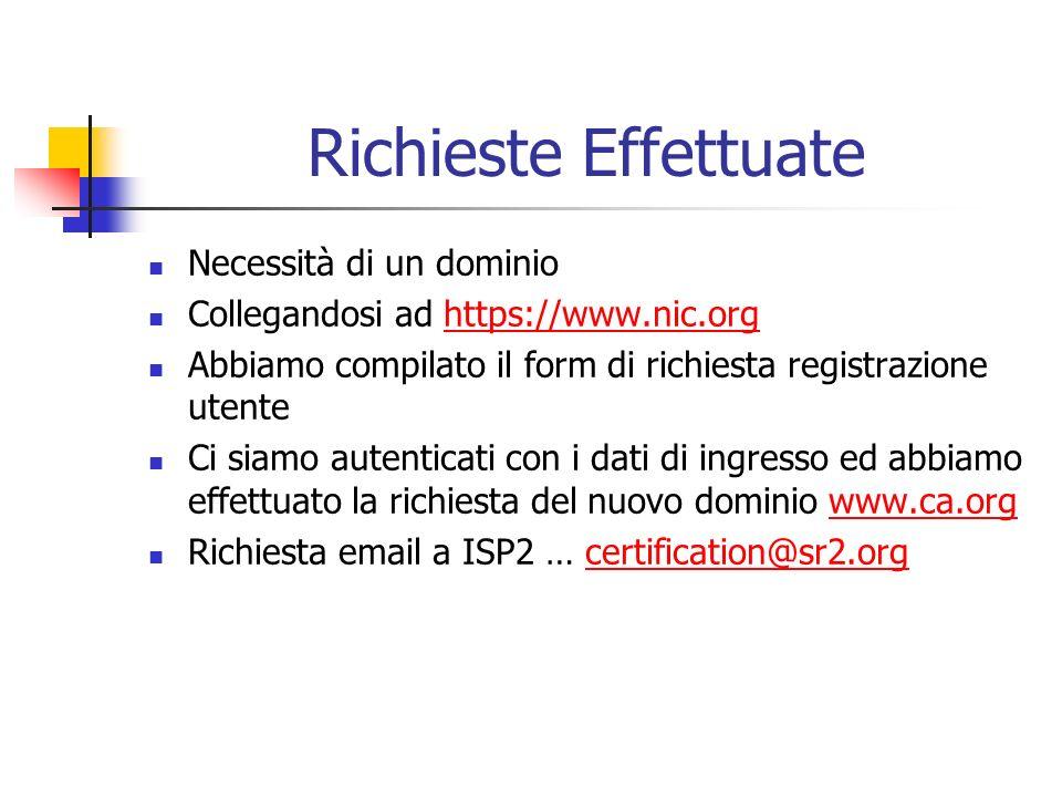 Richieste Effettuate Necessità di un dominio Collegandosi ad https://www.nic.orghttps://www.nic.org Abbiamo compilato il form di richiesta registrazione utente Ci siamo autenticati con i dati di ingresso ed abbiamo effettuato la richiesta del nuovo dominio www.ca.orgwww.ca.org Richiesta email a ISP2 … certification@sr2.orgcertification@sr2.org