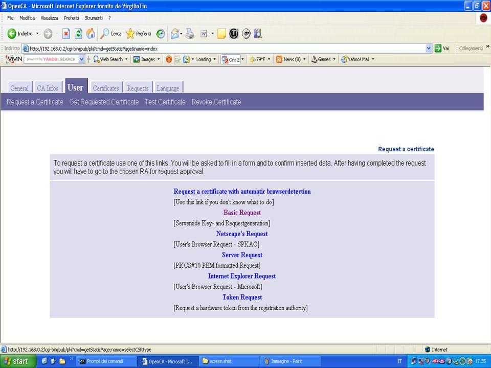 Come richiedere un certificato 2 Collegarsi al sito http://www.ca.orghttp://www.ca.org Cliccare sulla tabella user Cliccare su Request a Certificate