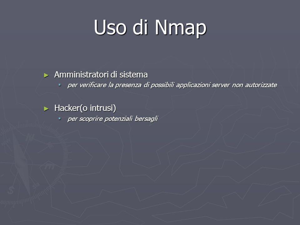 Uso di Nmap Amministratori di sistema Amministratori di sistema per verificare la presenza di possibili applicazioni server non autorizzate per verifi