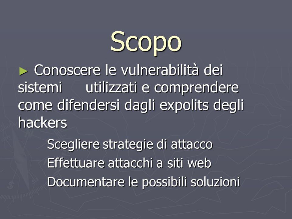 Scopo Conoscere le vulnerabilità dei sistemi utilizzati e comprendere come difendersi dagli expolits degli hackers Conoscere le vulnerabilità dei sist