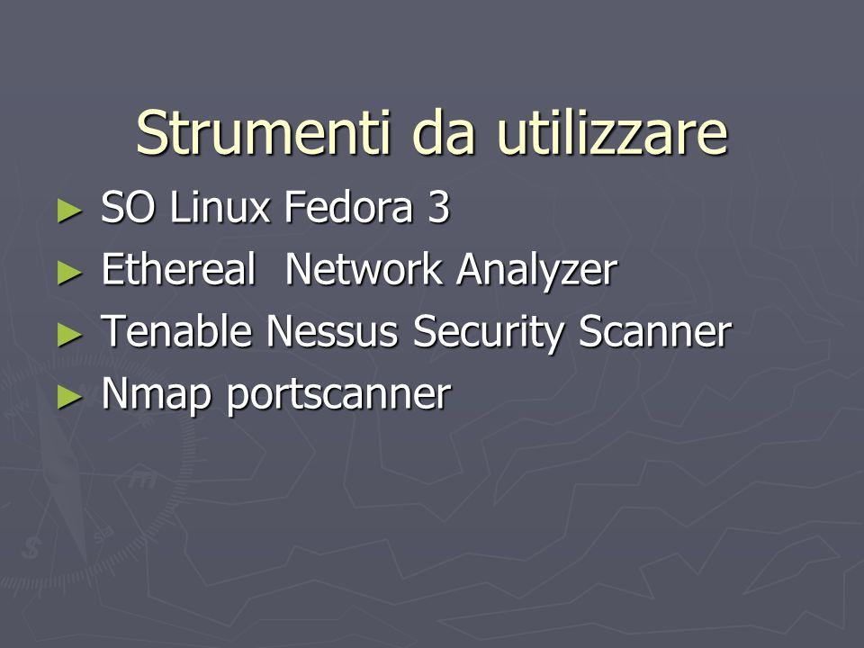 Strumenti Utilizzati 2 Ethereal Network Analyzer Ethereal Network Analyzer Analizza traffico di rete Analizza traffico di rete In grado catturare pacchetti indirizzati ad altri host(Promiscous_Mode ) In grado catturare pacchetti indirizzati ad altri host(Promiscous_Mode ) Qualsiasi protocollo anche personali(plug-in) Qualsiasi protocollo anche personali(plug-in) Packet Filtering Packet Filtering