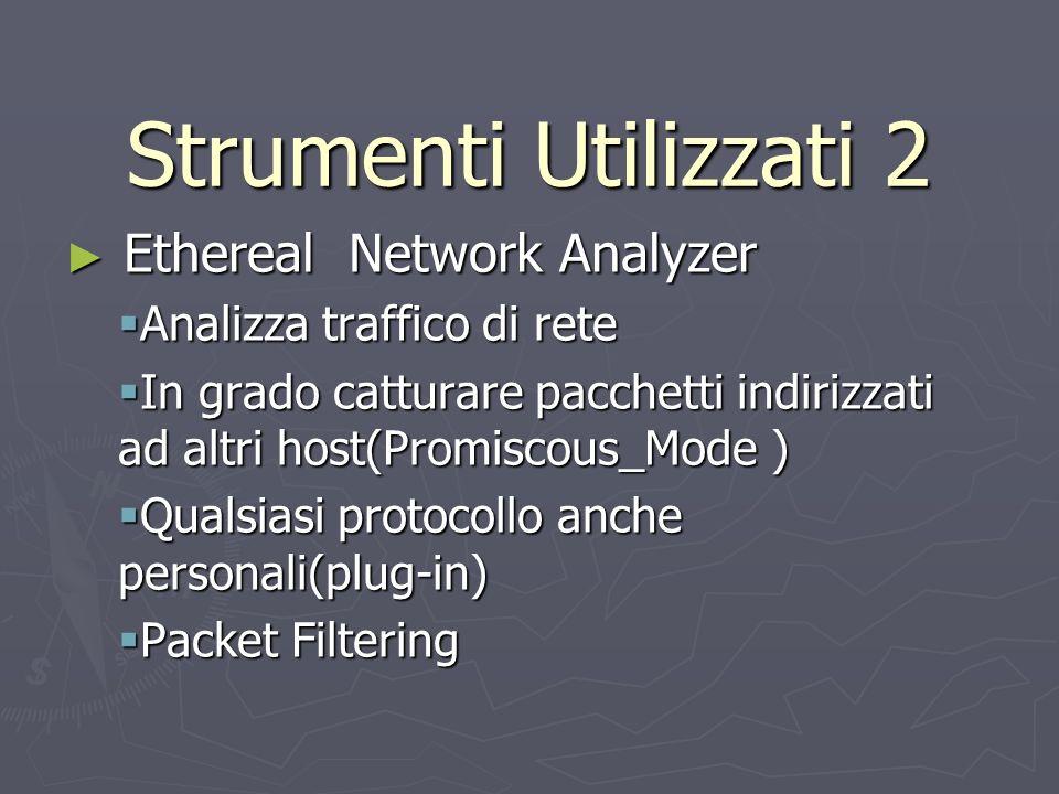Strumenti Utilizzati 2 Ethereal Network Analyzer Ethereal Network Analyzer Analizza traffico di rete Analizza traffico di rete In grado catturare pacc