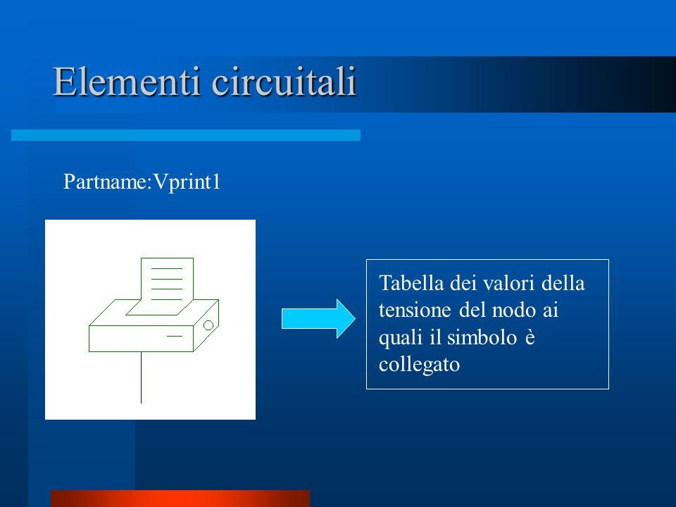 Elementi circuitali Partname:Vprint1 Tabella dei valori della tensione del nodo ai quali il simbolo è collegato