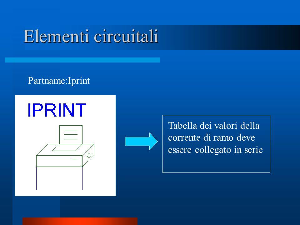 Elementi circuitali Partname:Iprint Tabella dei valori della corrente di ramo deve essere collegato in serie