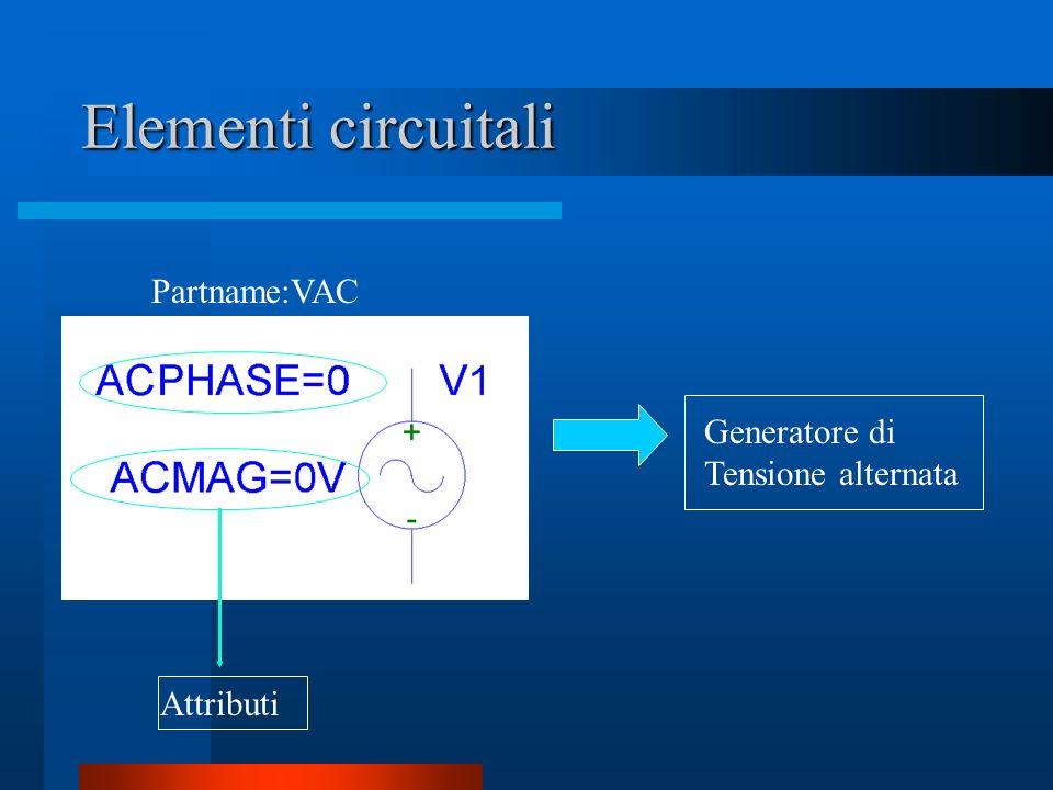 Elementi circuitali Generatore di Tensione alternata Partname:VAC Attributi