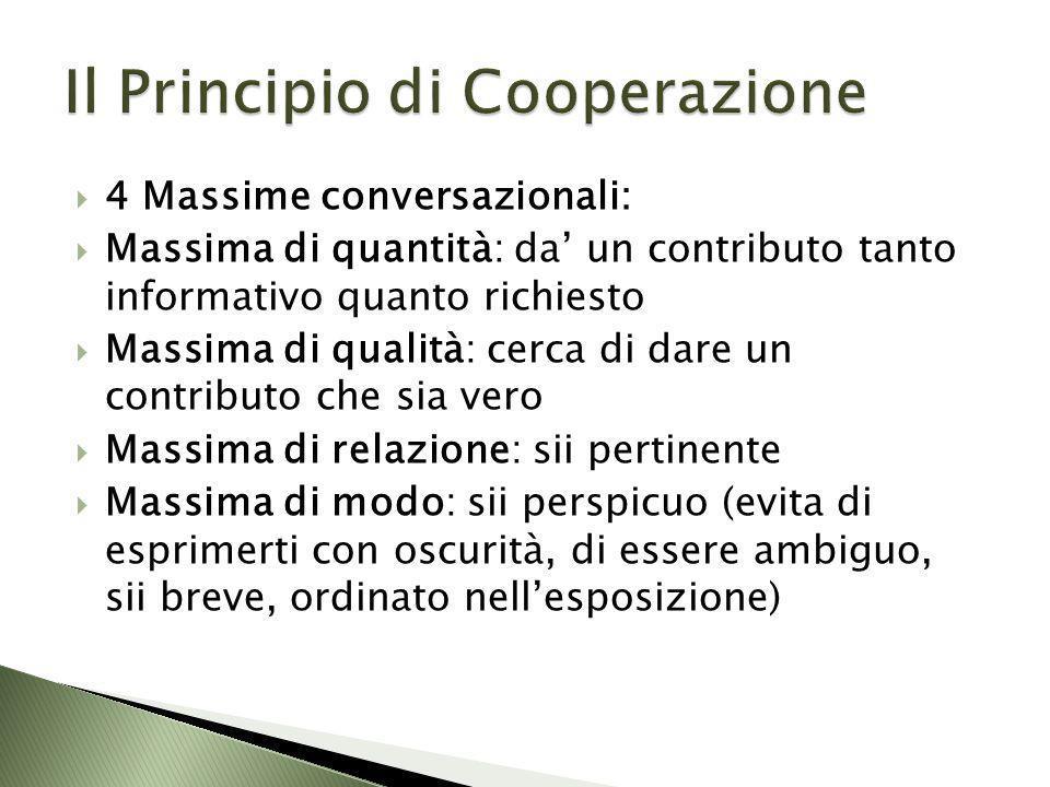 4 Massime conversazionali: Massima di quantità: da un contributo tanto informativo quanto richiesto Massima di qualità: cerca di dare un contributo ch