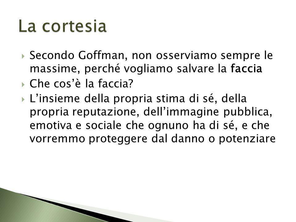 Secondo Goffman, non osserviamo sempre le massime, perché vogliamo salvare la faccia Che cosè la faccia? Linsieme della propria stima di sé, della pro