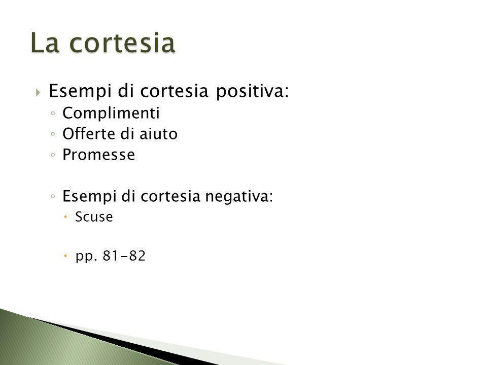Esempi di cortesia positiva: Complimenti Offerte di aiuto Promesse Esempi di cortesia negativa: Scuse pp. 81-82