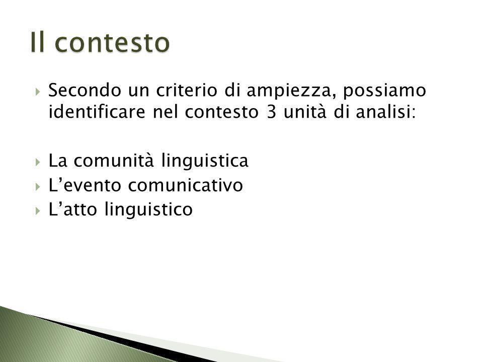 Secondo un criterio di ampiezza, possiamo identificare nel contesto 3 unità di analisi: La comunità linguistica Levento comunicativo Latto linguistico