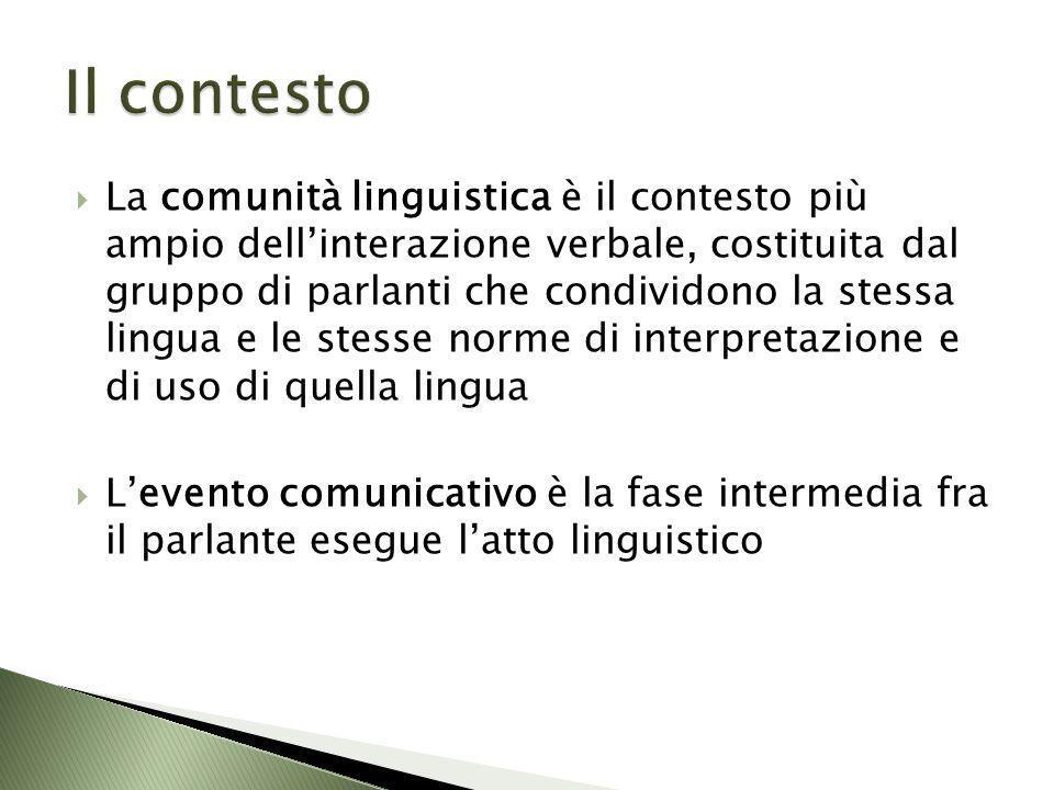 La comunità linguistica è il contesto più ampio dellinterazione verbale, costituita dal gruppo di parlanti che condividono la stessa lingua e le stess