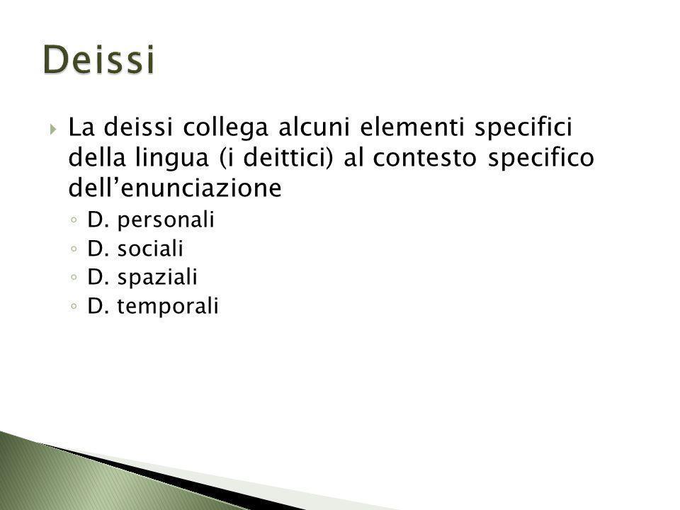 La deissi collega alcuni elementi specifici della lingua (i deittici) al contesto specifico dellenunciazione D. personali D. sociali D. spaziali D. te