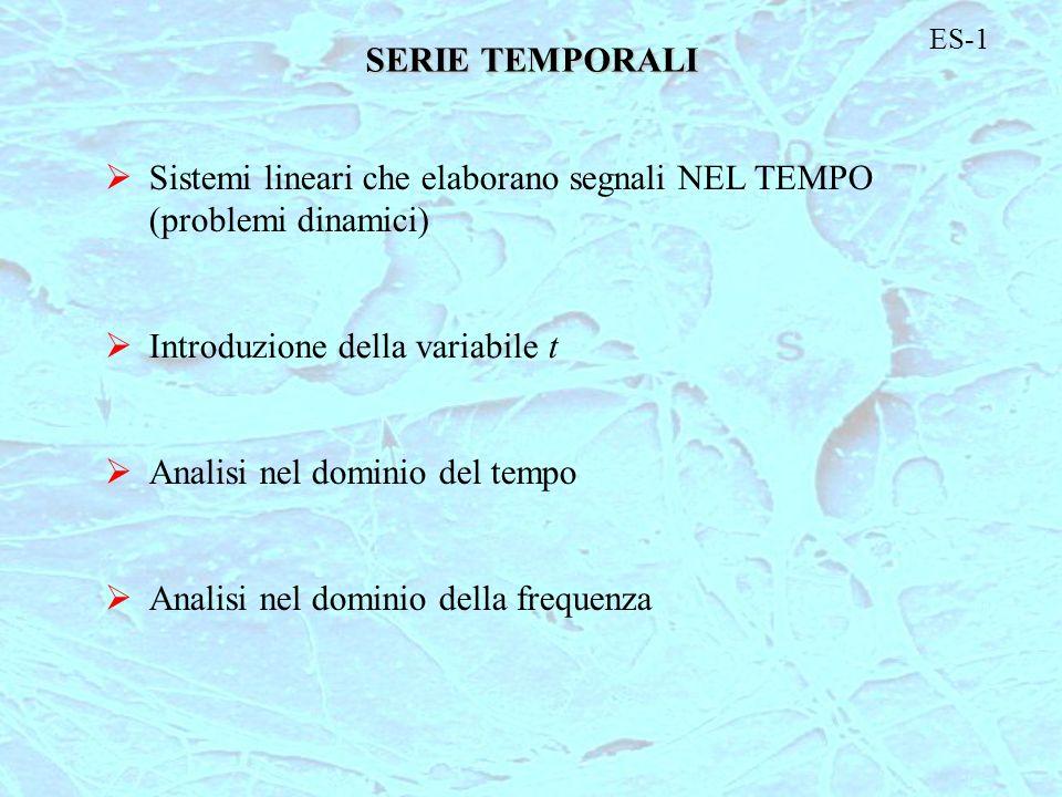 SERIE TEMPORALI Sistemi lineari che elaborano segnali NEL TEMPO (problemi dinamici) Introduzione della variabile t Analisi nel dominio del tempo Anali
