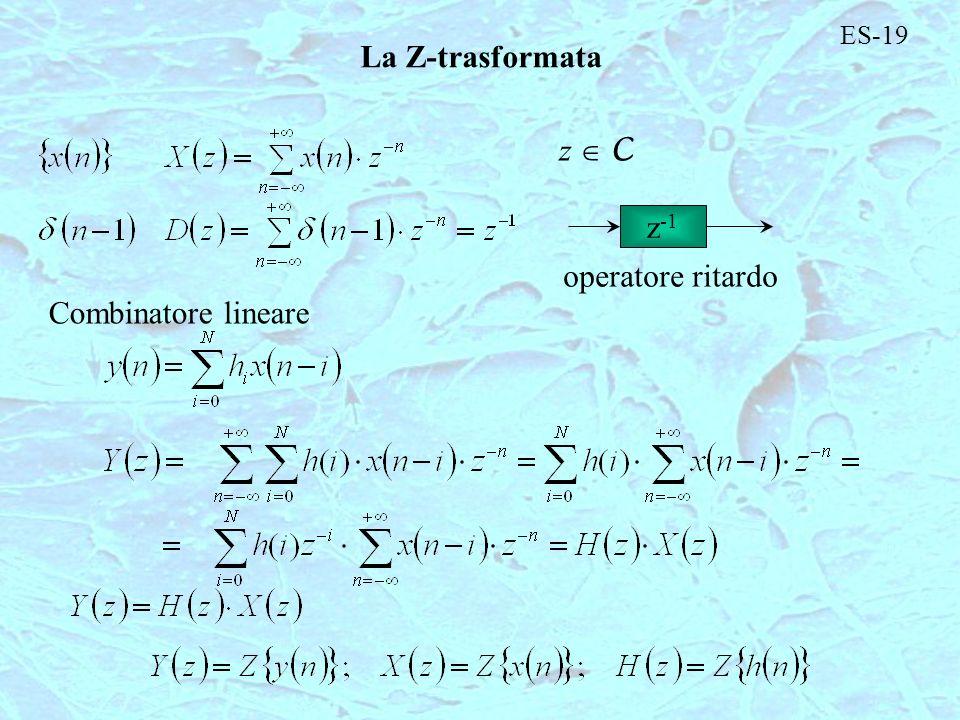 ES-19 La Z-trasformata z C z -1 operatore ritardo Combinatore lineare