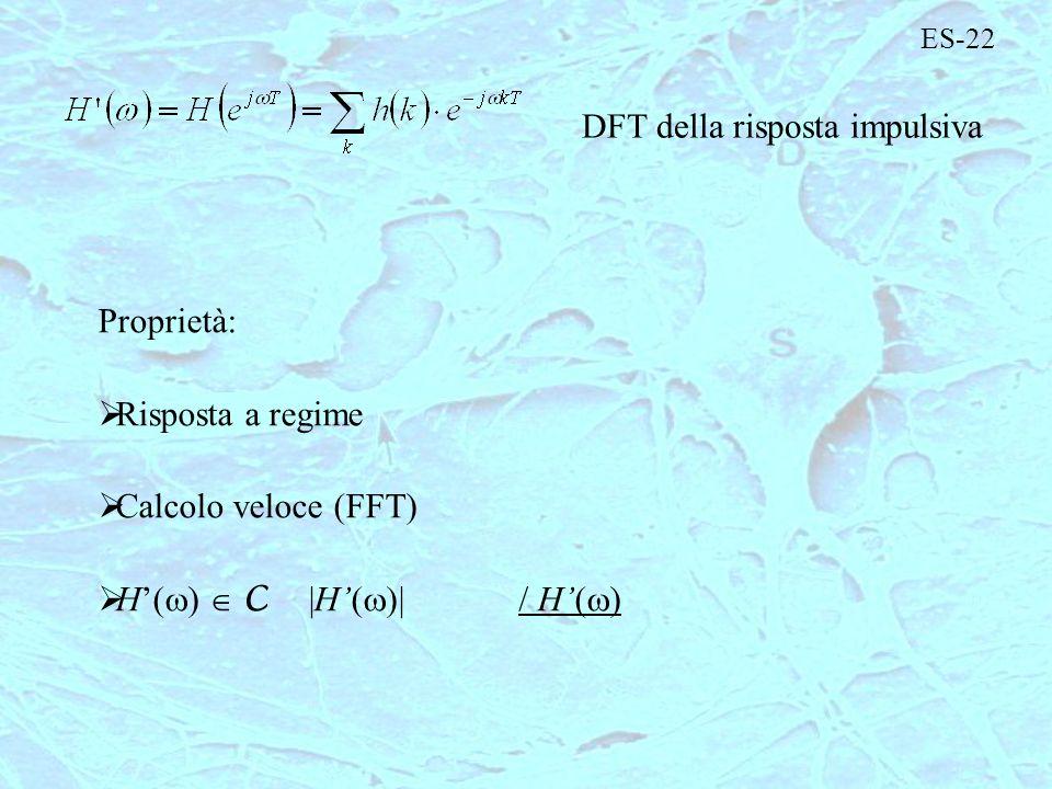 ES-22 DFT della risposta impulsiva Proprietà: Risposta a regime Calcolo veloce (FFT) H( ) C |H( H( )