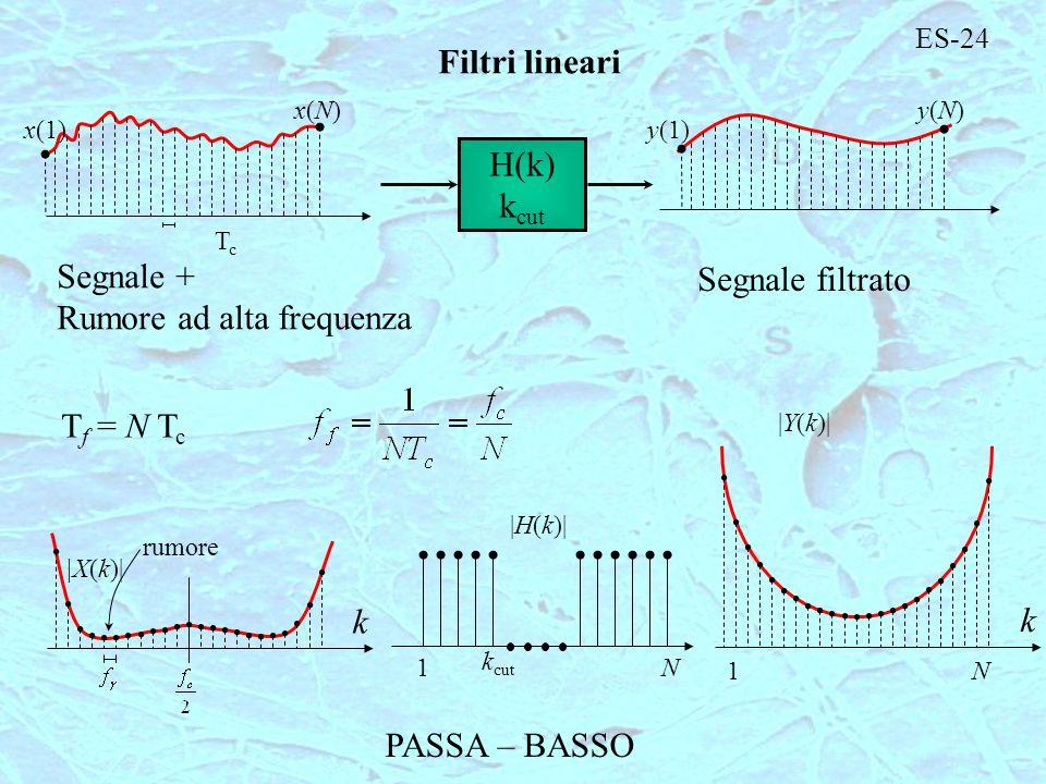 ES-24 Filtri lineari TcTc y(1) y(N)y(N) x(1) x(N)x(N) H(k) k cut Segnale + Rumore ad alta frequenza Segnale filtrato T f = N T c k rumore |X(k)| 1N k